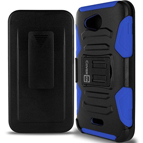Kyocera Hydro Air Case, Kyocera Hydro Wave Case, CoverON [Explorer Series] Belt Clip Cover for Kyocera Hydro Air/Hydro Wave Holster Case with Card Slot Kickstand - Blue & Black