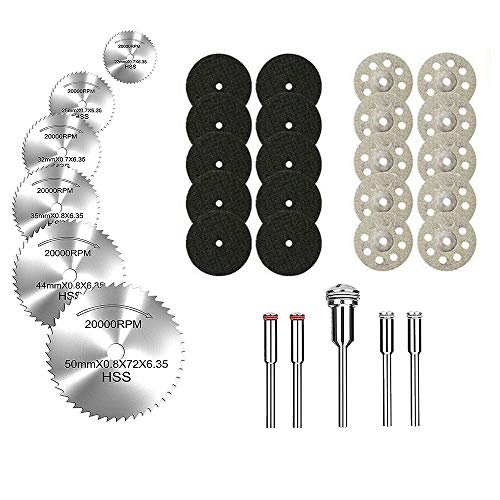 Lukcase 10 pcs Diamond Cutting Wheel Cut Off Discs Coated Rotary Tools W/Mandrel 22mm for Dremel (Cutting Wheel Kit)