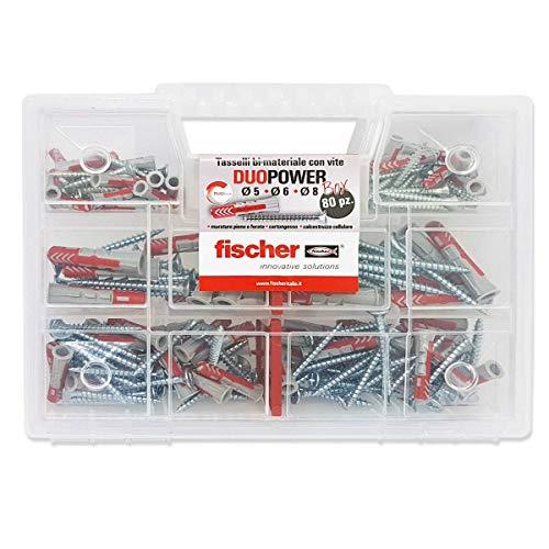 Fischer Kit fixtainer, 80 tacos universales con tornillo, para montaje sobre pared Pieno, ladrillo perforado, yeso y hormigón móvil, 544546
