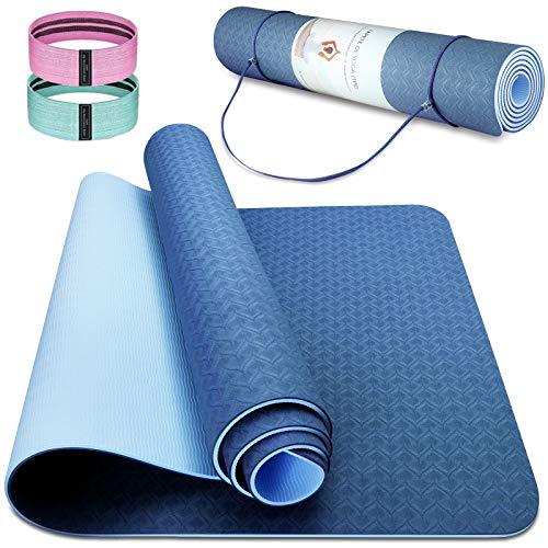 Cutemelo Yogamatte Rutschfest, Gymnastikmatte Sportmatte Fitnessmatte Rutschfest, TPE Yoga Matte für Yoga Pilates Gymnastik, mit Tragegurt und 2 Fitnessband, 183 x 61 x 0,6 cm (Dunkelblau + Seeblau)