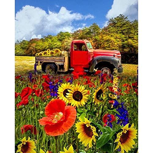 DIY 5D Diamond Painting Kits for Adults Kids, Cartoon Farm Truck Round Full Drill Crystal Rhinestone Diamond Paint Red Car in Flower Cross Stitch Arts Craft for Home Room Wall Decor 30x40cm/12x16in