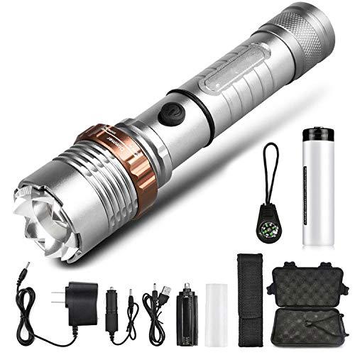 Lampe torche puissante avec lampe frontale - 5 modes d'éclairage - Alimentée par une batterie 18650 avec boussole, paquet D, T6 - Faible luminosité.
