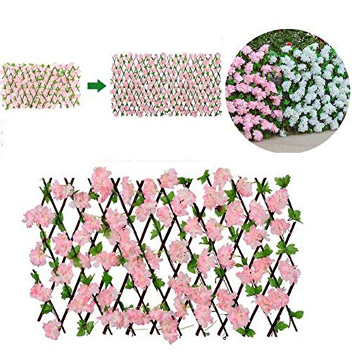 Artificial Fence,Hedge With Flower Leaves Garden Decoration Screening Expanding Trellis Privacy Screen