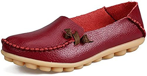 Chaussures Plates Femme,vintage Original Fermé Toe Ronde Occasionnels Couture Simple Doux Confortable En Cuir Naturel flaneuses En Caoutchouc Souple Chaussures Chaussures Bateau Rouge Vin Chers Cha