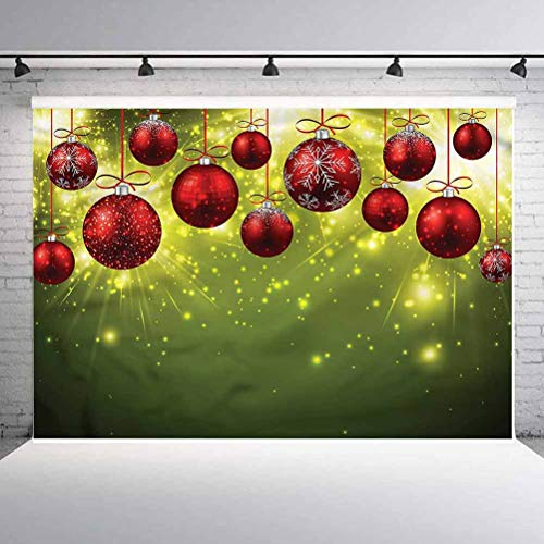 5x5FT Vinyl Photo Backdrops,Christmas,Red and Gold Party Background for Selfie Birthday Party Pictures Photo Booth Shoot