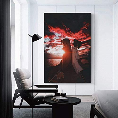 XHSM Anime Naruto Poster Uchiha Sasuke & Uchiha Itachi Poster, dekoratives Gemälde, Leinwand, Wandkunst, Wohnzimmer, Poster, Schlafzimmer, Malerei, 50 x 70cm
