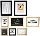THE HOME DECO FACTORY HD4691 Lot de 8 Cadres Photos, Bois + PVC, Noir/Blanc/Marron, 22,2 x 2 x 27,3 cm