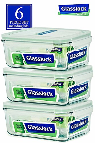 Glasslock Food-Storage Container with Locking Lids Oven and Microvave Safe - Rectangular 64oz