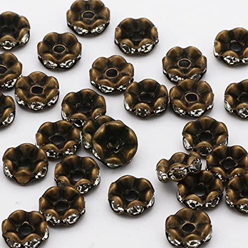 50pcs 4 6 8 10mm Mezcla de diamantes de imitación Rondelle Crystal Redondo Perlas espaciadoras sueltas para hacer joyas DIY Pulsera Collar Accesorios-Wave Bronze, 6mm 50pcs