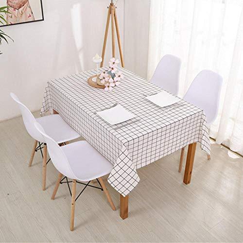 EDCV tafelkleed tafelkleed thuis textielhuis keuken decoratie 6 maten tafelkleed landelijke stijl geruite print rechthoek vierkant, wit