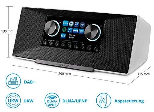 MEDION P85135 7,1 cm (2,8 Zoll TFT-Display) WLAN Internet-Radio, 2x6 W RMS, DLNA-/UPnP, DAB+, FM/UKW, LAN, USB 2.0, AUX, Spotify, weiß