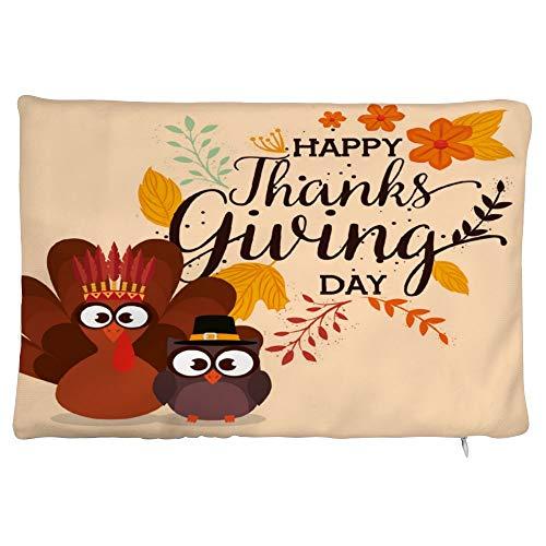 happygoluck1y - Federa rettangolare per cuscino con tacchino e gufo, in velluto, 30 x 50 cm, con cerniera, per divano e ragazze
