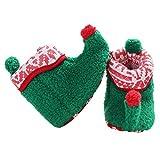 Fenical Baby Weihnachten Elf Fleece Slipper Booties Schuhe Säugling Neugeborenen Kleinkind Winter warme Slipper Stiefel Elf Kostüm Zubehör für Baby Mädchen oder Jungen (grün 11cm)