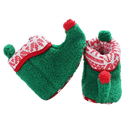 Fenical Baby Weihnachten Elf Fleece Slipper Booties Schuhe Säugling Neugeborenen Kleinkind Winter warme Slipper Stiefel Elf Kostüm Zubehör für Baby Mädchen oder Jungen (grün 12cm)