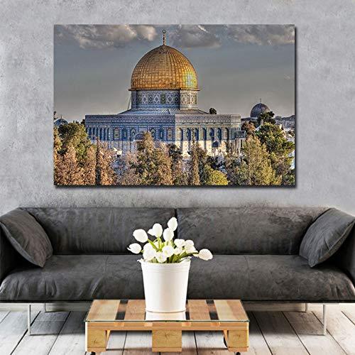 wZUN Pinturas de Arte de Pared islámicas, Impresiones en Lienzo Modernas, Pinturas modulares en Paredes para decoración del hogar, Impresiones de Carteles en Paredes Grandes 80x50cm