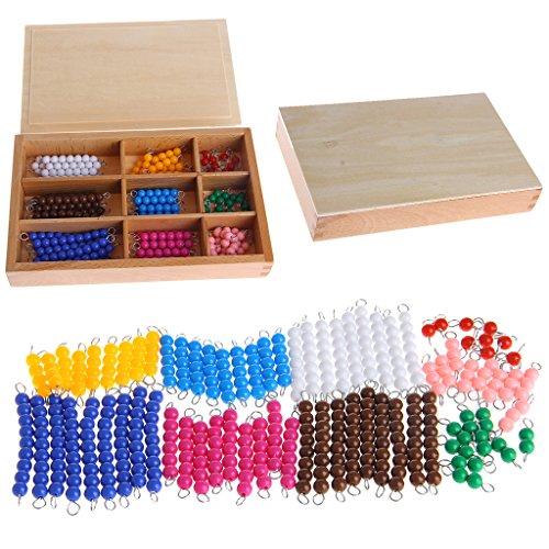Montessori Mathematik Material 1-9 Perlen Stab in Holzbox Frühvorschule Spielzeug