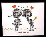 Nouveau mot personnalisé'AAHH Young Love' dans un cadre avant en verre de 8'x10'. Adolescents, couples, fiançailles, Saint Valentin ou cadeau d'amitié, cadeau unique et souvenir