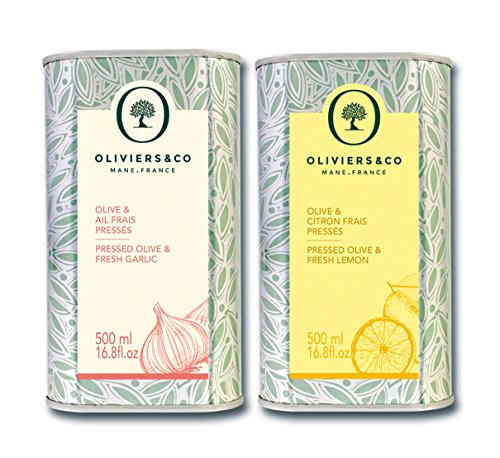 Oliviers & Co | Huiles d'olive aromatiques 500 ML*2 (Citron, ail) | Huile Vierge Extra | Première pression à froid | 100% naturelles | idéales pour vos salades, marinades, viande blanches et poissons
