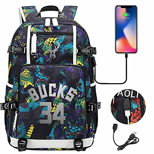 AGLT Mochilas infantiles NBA Bucks n#34 Alphabet Brother Basketball Star Basketball Fan Student Bookbags paquete de doble hombro para hombres y mujeres, h10