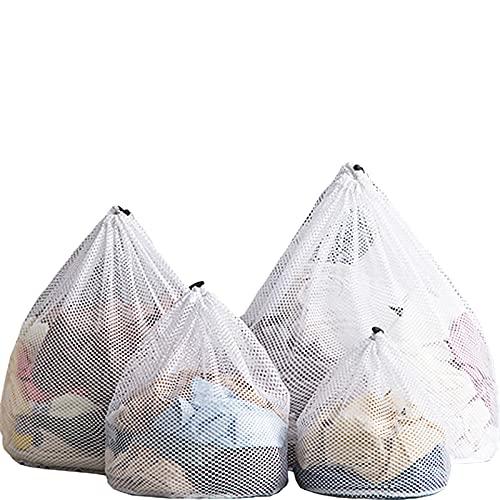 ACTTGGJ Bolsas de Malla de 4 Tamaños,Bolsas de Lavado para Lavandería,Bolsas de Lavado a Máquina con Cordón Reutilizable y Duradero para Ropa Interior,Calcetines,Camiseta,Ropa de Bebé(Malla gruesa)