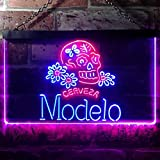 zusme Cerveza Modelo Skull Bar Novelty LED Neon Sign Red + Blue W16 x H12