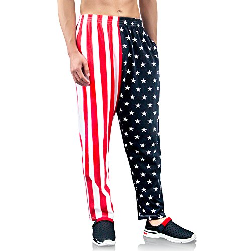Bopika Men 's Beach Pants American Flag Pants Cargo Short (XXL) Red