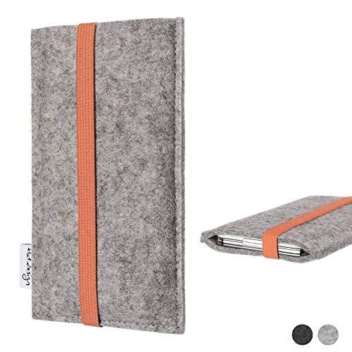 flat.design Handy Hülle Coimbra kompatibel mit Shift Shift6m - Schutz Hülle Tasche Filz Made in Germany hellgrau orange