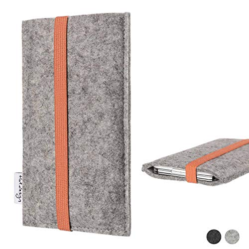 flat.design Handy Hülle Coimbra kompatibel mit Huawei P20 Pro Single-SIM - Schutz Hülle Tasche Filz Made in Germany hellgrau orange