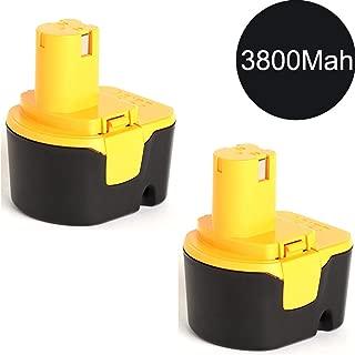 2x Murllen 12V 3800mAh NiMh Replacement Battery for Ryobi 1400652 1400670 1400652B CTH1202 HP1201M TDS4000 CTH1201 FL1200 HP1201MK2 TF1100 R10510