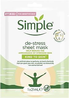 Simple De-Stress Sheet Mask Met Aloë Vera, Voor Het Verfrissen Van De Huid - 1 Stuk
