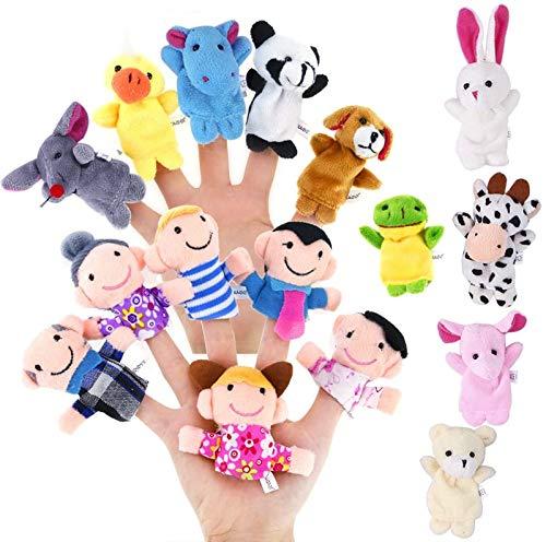 Juego de 16 marionetas de dedo que incluye 10 animales y 6 miembros de la familia muñeca de felpa para niños pequeños juguetes educativos de la historia