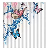 Butterfly Jigsaw Puzzle 300 Pieces Puzzle for Kids and Adult Flower Plant Colorful Butterfly Around Blossom Floral Aroma Romance Home, Pink Blue