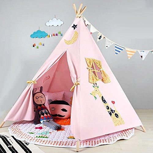 Pericross-Teepee Tente Indienne de Jouet Maison de Jouet pour Enfants (Rose-5 Faces)