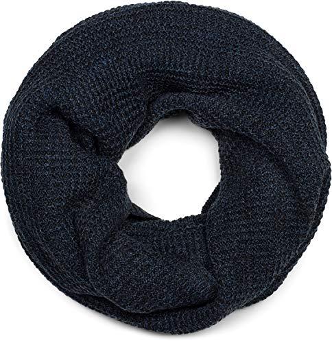 styleBREAKER sciarpa scaldacollo unisex con motivo a quadri, sciarpa invernale in maglia, Made in Polen 01018162, colore:Blu scuro a pois