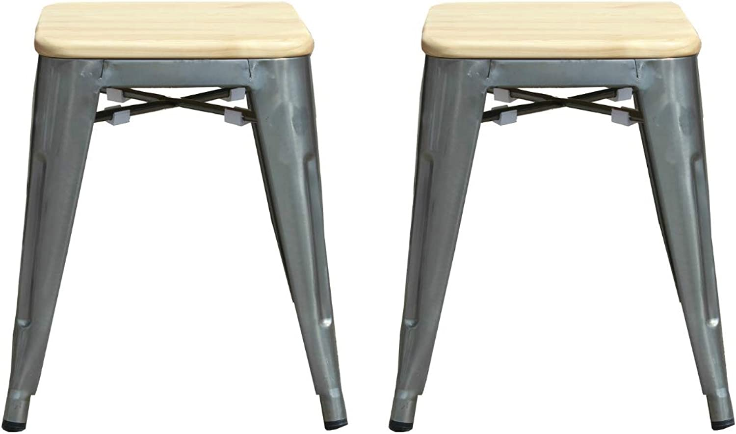 Take Me Home Furniture Mini Tolix Stool Backless Metal, Industrial Style Stool 18  High in Metal with Wood, Industrial Tolix Metal Set of 2, Perfect for Kids