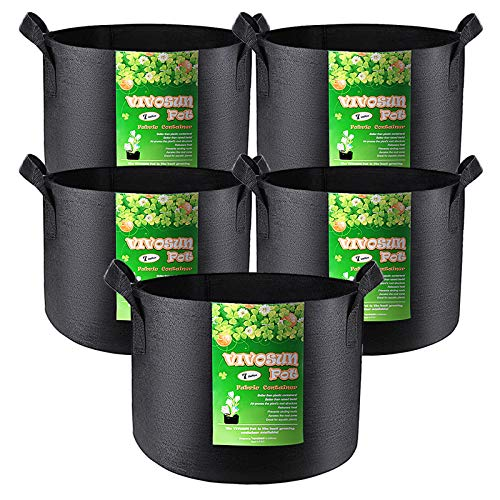 VIVOSUN 5-Pack 7 Gallon Plant Grow Bags, Heavy Duty Thickened Nonwoven Fabric Pots with Handles