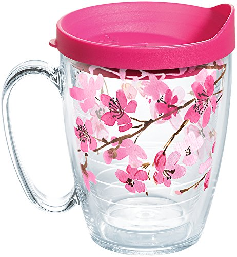 Tervis Japanese Cherry Blossom Coffee Mug With Lid, 16 oz, Clear