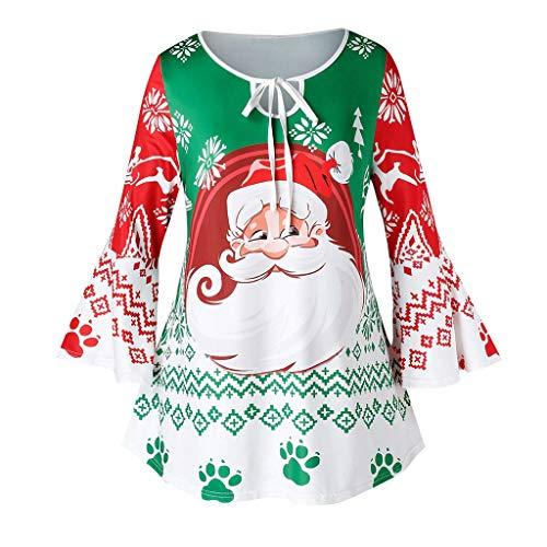 Dorical Weihnachts Sweatshirt Damen Winter Wein Lila Blau Pink Spitze V-Neck Sweet Pullover Weihnachtsmotiv Hochwertige Schicke Schöne Günstige kaufen Online Shop Sale (Small, Z2-Grün)