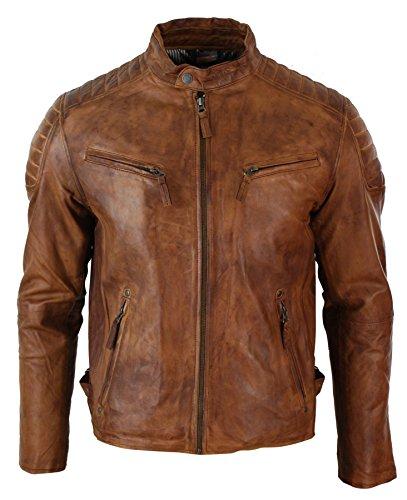 Aviatrix Mens Slim Fit Retro Style Zipped Biker Jacket Real Washed Leather Tan Brown Urban
