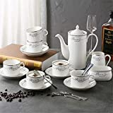 Tea Coffee Cup Set 15 Pieces Gold Trim Glazed Porcelain Coffee And Tea Service Set With 6 Piece Cups And Teapot Tray Afternoon Tea Drinkware Coffee Set