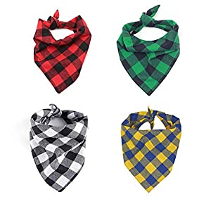 Eage Dog Bandanas, 4PCS Triangle Bibs Washable Reversible Double-Layer Cotton Plaid Printing Kerchief Set, Scarfs Accessories for Medium to Large Dogs Cats Pets