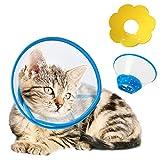 HXX 2 Collerettes pour Chat, Réglable Collerette Souple de Chat et Cône Collerette en Plastique pour Chat, Anti-Morsure Collier de Récupération pour Petit Chien Chat