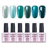 CLAVUZ Smalto Semipermente Smalto per Unghie Gift Set Kit da 6 Colores Luminoso Nail Soak off UV LED Romantico Gel Semipermanente per Unghie Manicure 10ML - GNS009