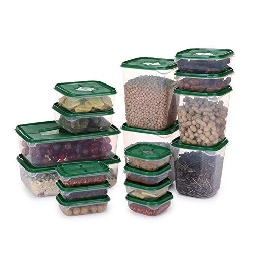 Super1798 - Juego de 17 cajas de almacenamiento de alimentos de plástico selladas para frigorífico (resistencia a la temperatura: -20 °C a 100 °C)