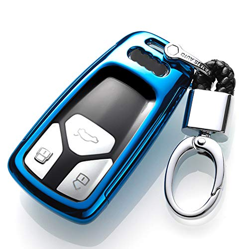 ontto for Audi Key Fob Case 360 Remote Control Key Fob Holder Jacket Degree Full Protection Key Shell Compatible with 2016 Audi Q7 A4L TT TTS Blue