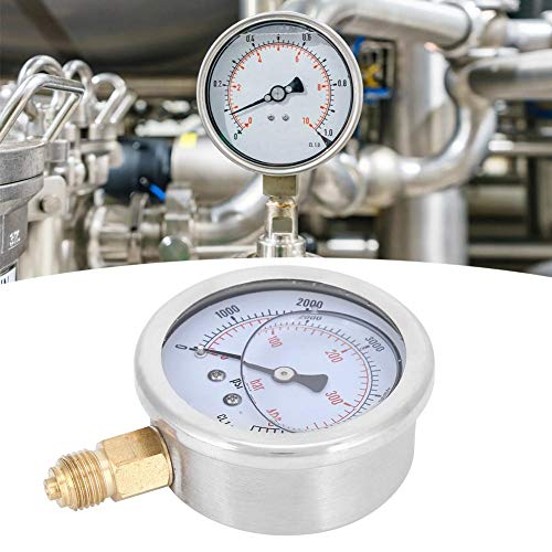 Manómetro de presión simple instalación 1/4BSP estándar relleno de aceite para maquinaria para metalurgia
