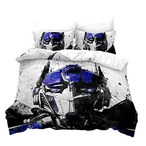 Tomifine Juego de ropa de cama con funda de edredón y funda de almohada, diseño de Optimus Prime, adecuado para niños y jóvenes (135 x 200 cm, D)