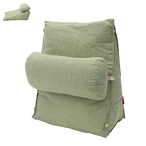 N / A Rückenkissen mit Abnehmbarer Nackenrolle und Seitenfach, Rückenstützkissen für Bett & Sofa, Bezug waschbar, Lesekissen, Bücherkissen, Rückenlehne (20 X 45 X 45cm, Gras-Grün)