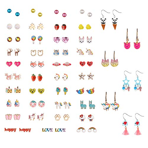 45 Pairs Cute Unicorn Animal Earrings, Hypoallergenic earrings Set for Kids, Girls Colorful Cute Stud Earrings (Color-2)