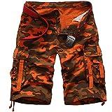 Photo de ROBO Cargo Shorts Homme Militaire Pantalon Court avec Multi Poches Combat Pants sans Ceinture